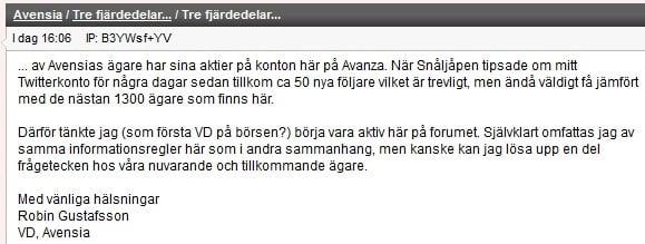 VD, Robin Gustafsson integrerar och svarar på frågor på Placeras forum.